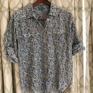 C&C Cotton Shirt with blue flower print